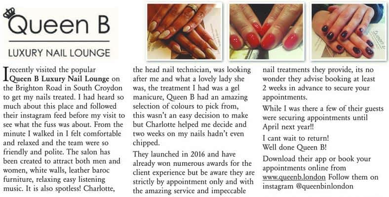 Guardian reviews Queen B Luxury Nail Lounge Croydon December 2017