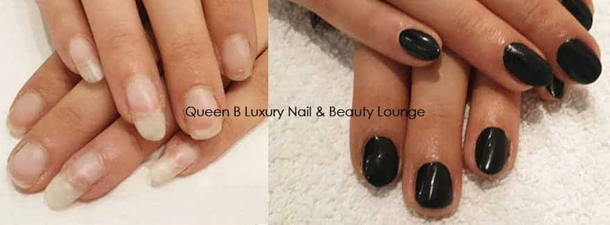 Dont pick your gel polish - before and after nails Queen B London