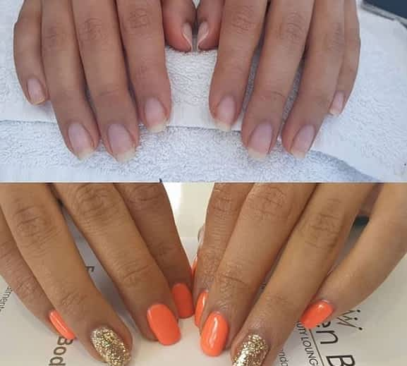 Natural Nails before and after Queen B